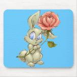 Bashful Bunny and Rose Mousepad Mouse Pad