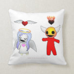 "Bashful Candy Angel and Devil Doll Throw Pillow<br><div class=""desc"">Candy Angel and Devil Doll meet for the first time in Episode 3 of Radiskull and Devil Doll,  and their hearts are on display! Image recreated by Joe Sparks 2018.</div>"