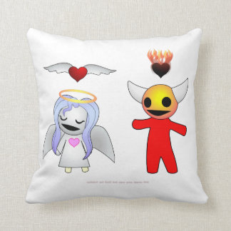 Bashful Candy Angel and Devil Doll Throw Pillow