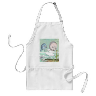Bashful Clam Scolded by Fish Adult Apron