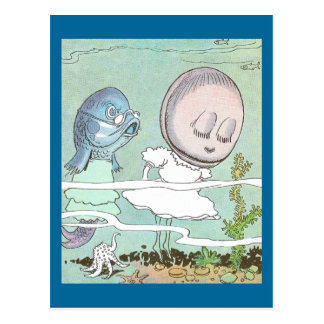Bashful Clam Scolded by Fish Postcard