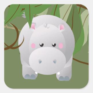 Bashful Elephant Jungle  Animals Party Sticker