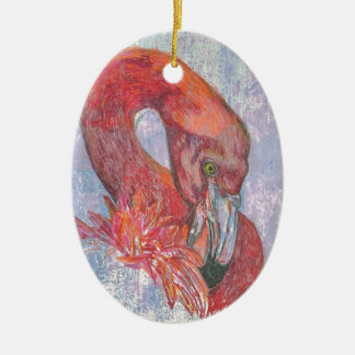 Bashful Flamingo Ceramic Ornament