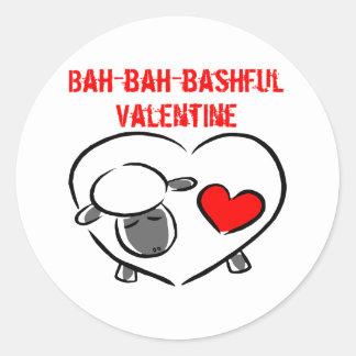Bashful Valentine T-shirts and Gifts Round Stickers
