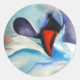 Bashful White Swan (Kimberly Turnbull Art) Classic Round Sticker