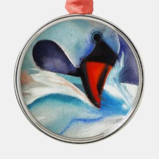 Bashful White Swan (Kimberly Turnbull Art) Metal Ornament