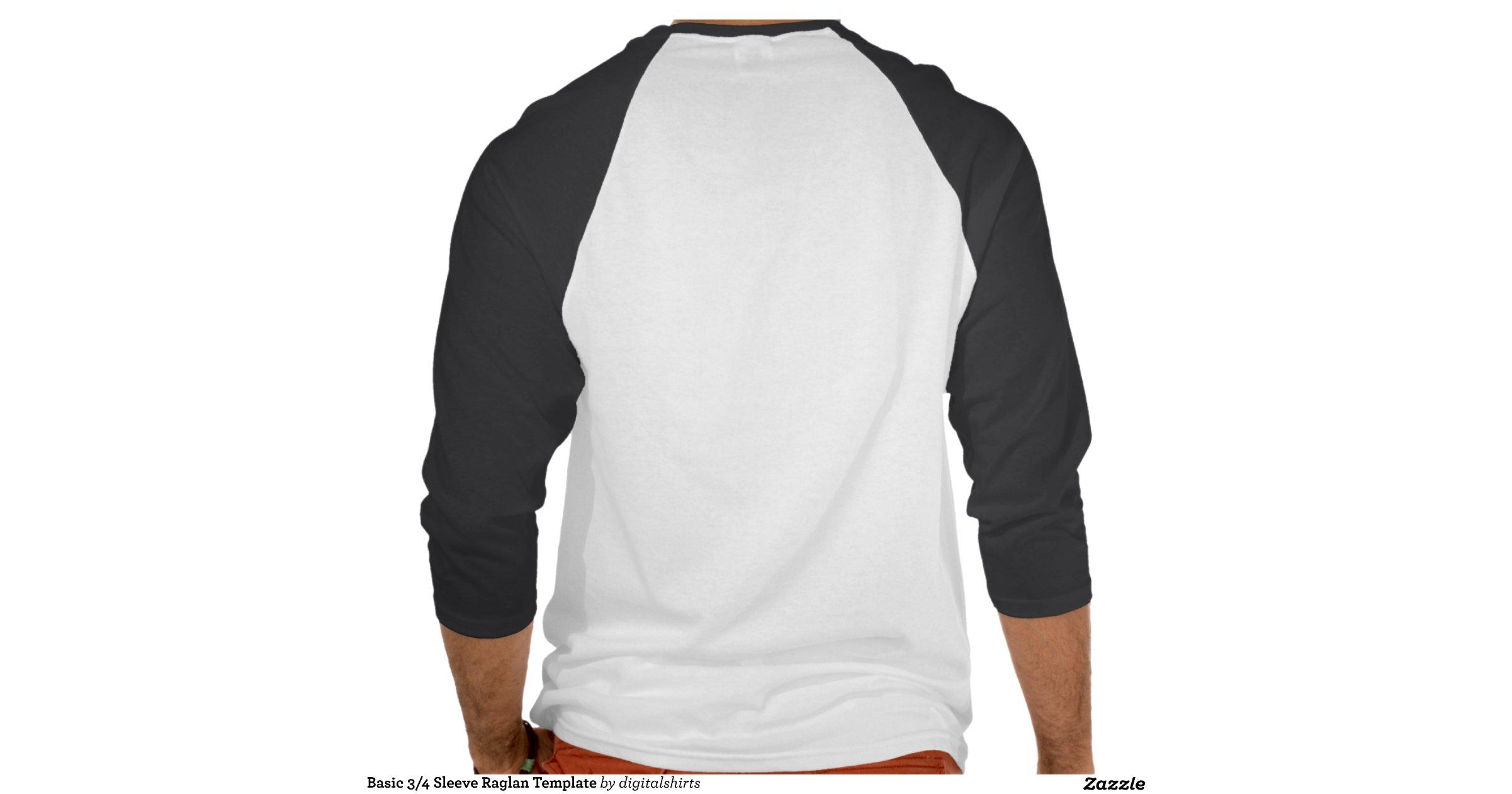 Basic 3 4 sleeve raglan template t shirt zazzle for 3 4 sleeve shirt template