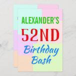 "[ Thumbnail: Basic ""52nd Birthday Bash"" Birthday Invitation ]"