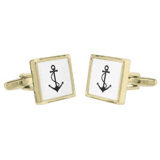 Basic Black Anchor Gold Cufflinks