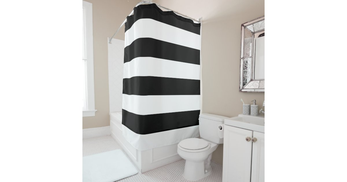 basic black and white striped shower curtain zazzle