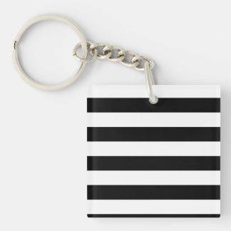 Basic Black and White Stripes Double-Sided Square Acrylic Keychain