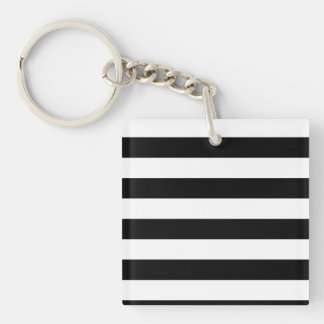 Basic Black and White Stripes Keychain