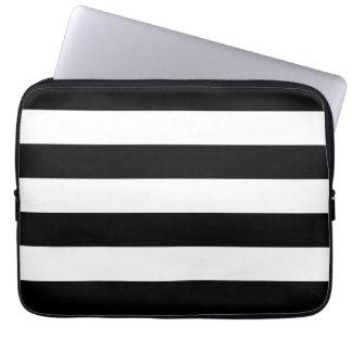 Basic Black and White Stripes Laptop Computer Sleeve