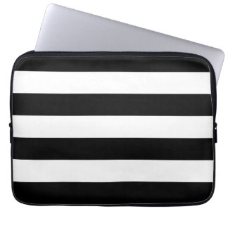Basic Black and White Stripes Laptop Sleeve