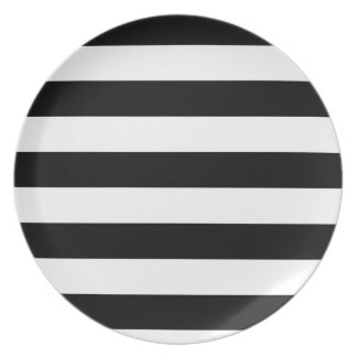 Basic Black and White Stripes Party Plates