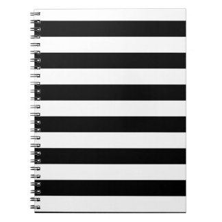 Basic Black and White Stripes Spiral Notebooks