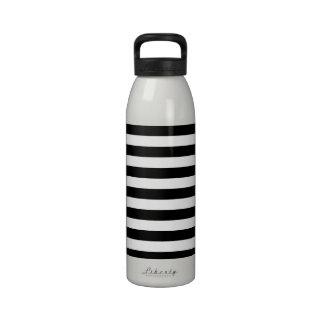 Basic Black and White Stripes Water Bottles