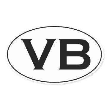 Beach Themed Basic Black and White VB Virginia Beach Oval Logo Oval Sticker