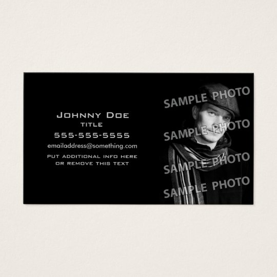 Basic Black Photo Template Business Card