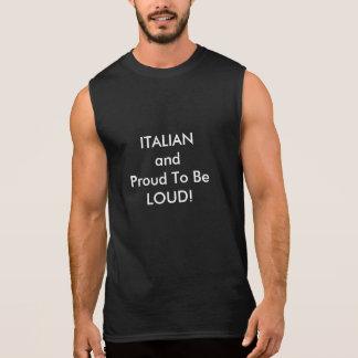 Basic Black Sleeveless T-shirt with Italian Saying