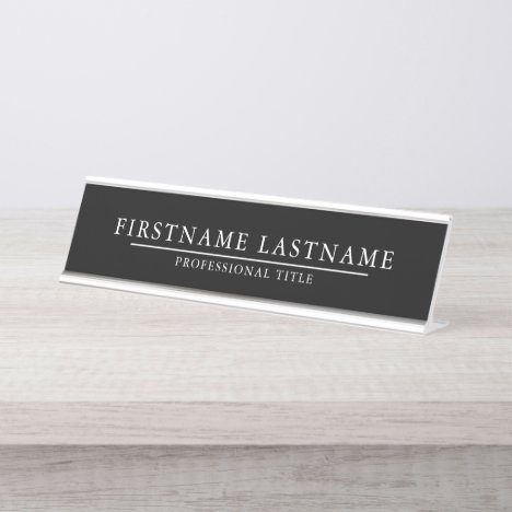 Basic Black White with Name Title Simple Line Desk Name Plate