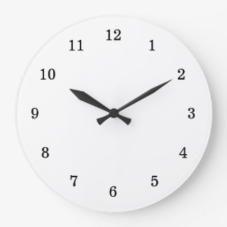 Basic Blank White with Black Numbers Large Clock