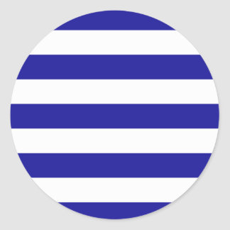 Basic Blue and White Stripes Classic Round Sticker