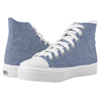"""Basic Blue Jean Denim """"Textured Image"""" in Blue High-Top Sneakers"""