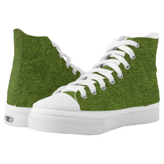 """Basic Blue Jean Denim """"Textured Image"""" in Green High-Top Sneakers"""