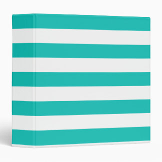 Basic Bluegreen Stripes Pattern 3 Ring Binder