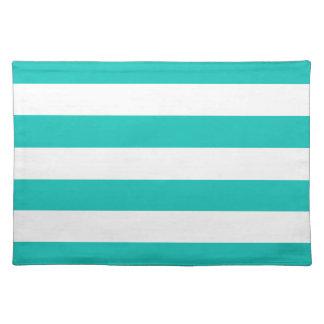Basic Bluegreen Stripes Pattern Cloth Placemat