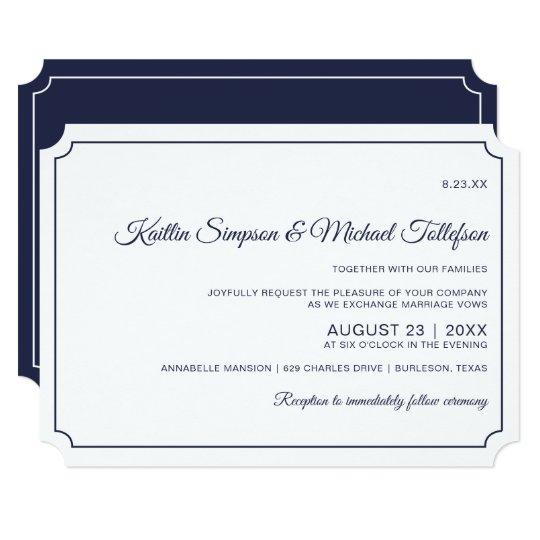Basic Border Wedding Invitations (Dark Navy Blue) | Zazzle.com