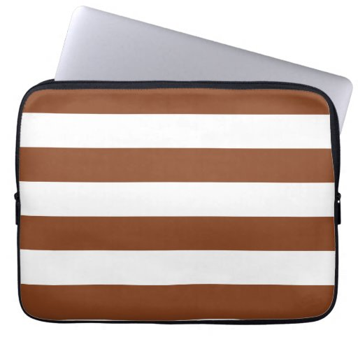 Basic Brown and White Stripes Pattern Laptop Computer Sleeve