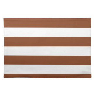 Basic Brown and White Stripes Pattern Placemat