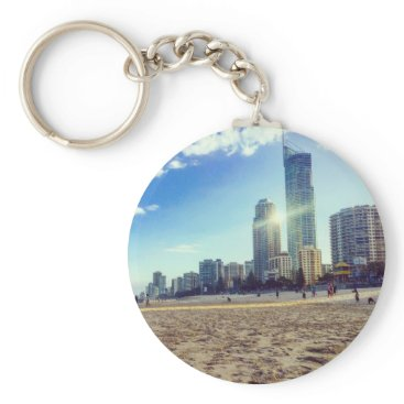 Beach Themed Basic Button key Chain Beach.