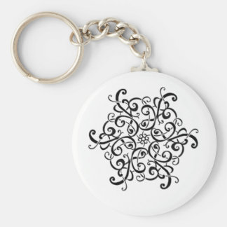 Basic Button Keychain-Black and White Design Keychain