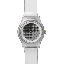 Basic Chevron Pattern in Black and White Wrist Watch