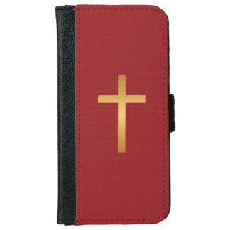 Basic Christian Cross Golden Ratio Gold Red iPhone 6 Wallet Case