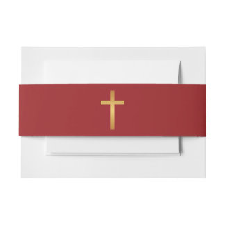 Basic Christian Cross Golden Ratio Gold Red Invitation Belly Band