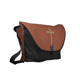 Basic Christian Cross Golden Ratio Rusty Brown Messenger Bag