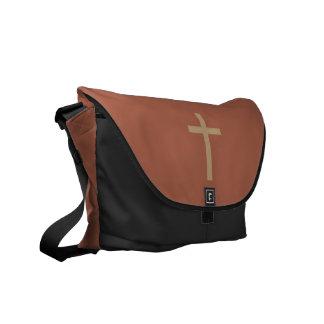 Basic Christian Cross Golden Ratio Rusty Brown Messenger Bag