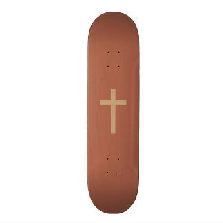 Basic Christian Cross Golden Ratio Rusty Brown Skateboard Deck