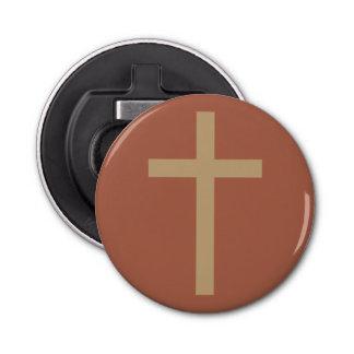 Basic Christian Cross Golden Ratio Rusty Brown Button Bottle Opener