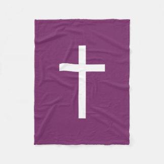 Basic Christian Cross Golden Ratio White Purple Fleece Blanket