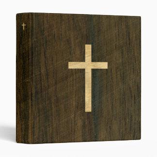 Basic Christian Cross Wooden Veneer Maple Rosewood 3 Ring Binder