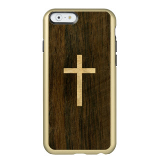 Basic Christian Cross Wooden Veneer Maple Rosewood Incipio Feather Shine iPhone 6 Case