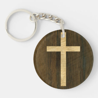 Basic Christian Cross Wooden Veneer Maple Rosewood Keychain