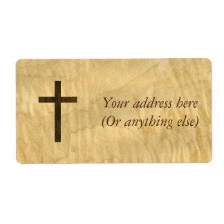 Basic Christian Cross Wooden Veneer Maple Rosewood Label
