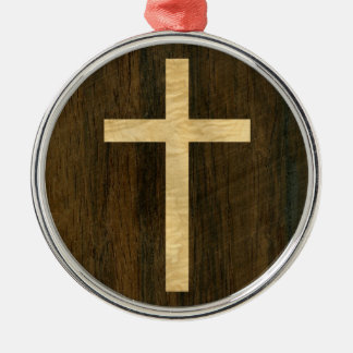 Basic Christian Cross Wooden Veneer Maple Rosewood Metal Ornament