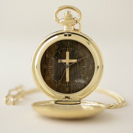 Basic Christian Cross Wooden Veneer Maple Rosewood Pocket Watch